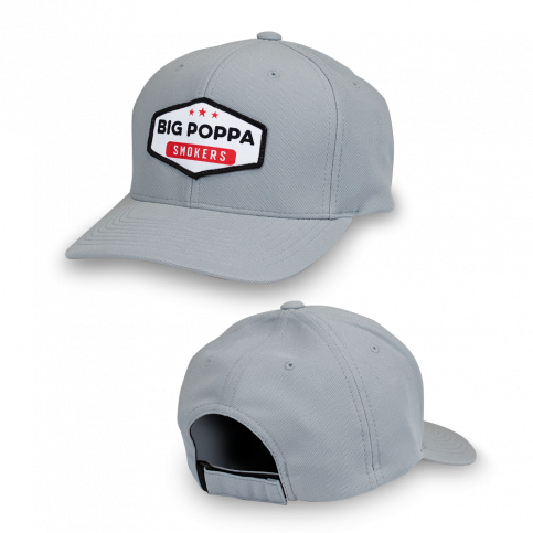 Big Poppa Smokers Grey Vintage Patch Hat - Flexfit