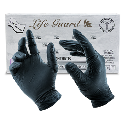 LifeGuard Nitrile Food Gloves - BLACK (4 mil)