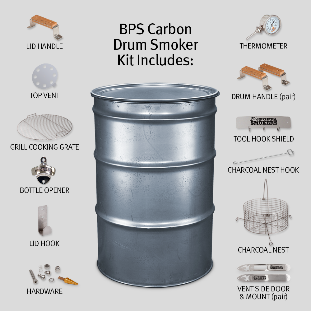 BPS Carbon Drum Smoker Kit | Barrel Smoker | Big Poppa Smokers