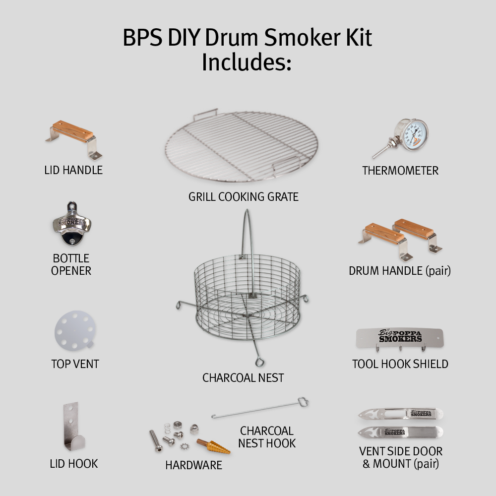 Diy bbq drum smoker kit big poppa smokers big poppas diy drum smoker kit solutioingenieria Gallery