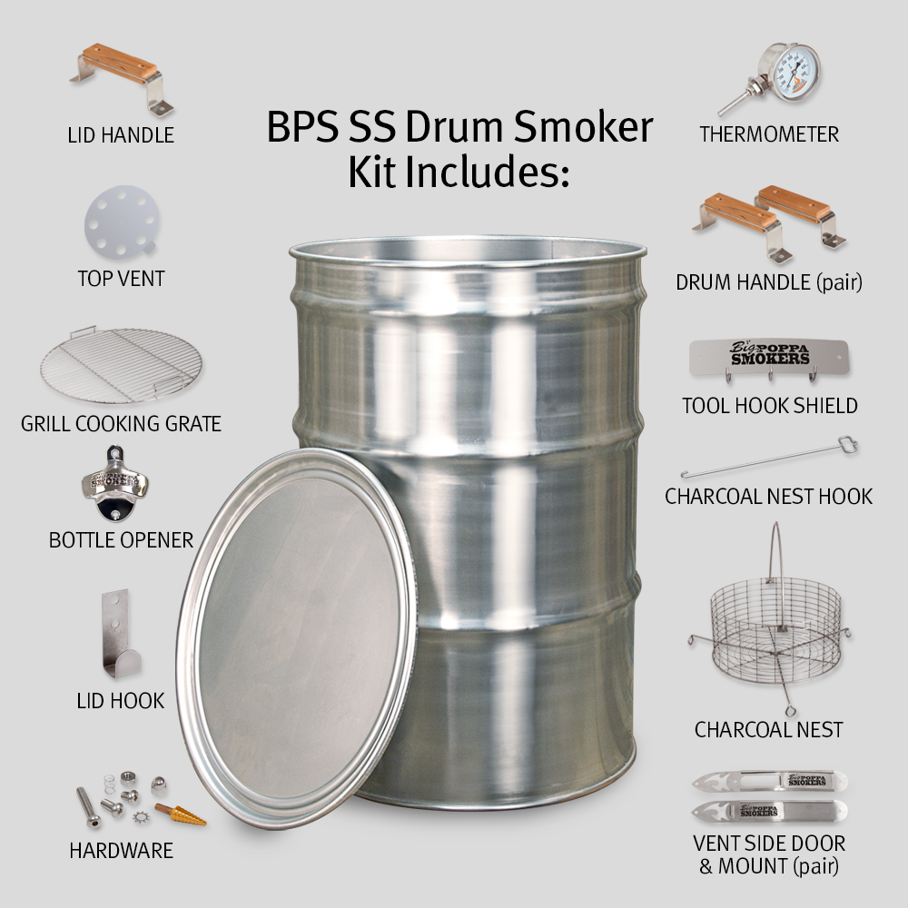 bps ss drum smoker kit stainless steel drum smoker kit big poppa smokers. Black Bedroom Furniture Sets. Home Design Ideas