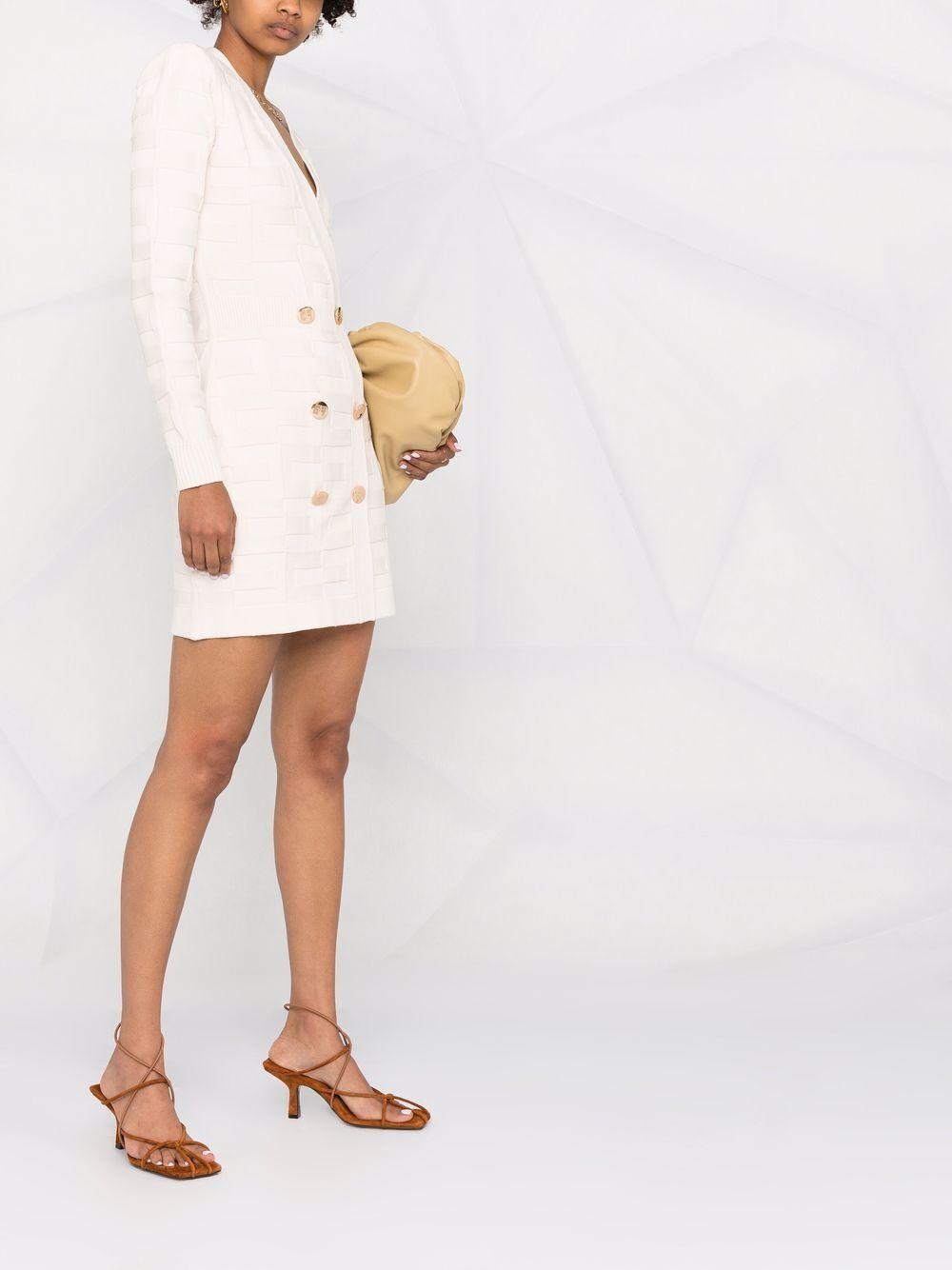 Abito corto donna burro con bottoni in oro Elisabetta Franchi | AM23S16E2193