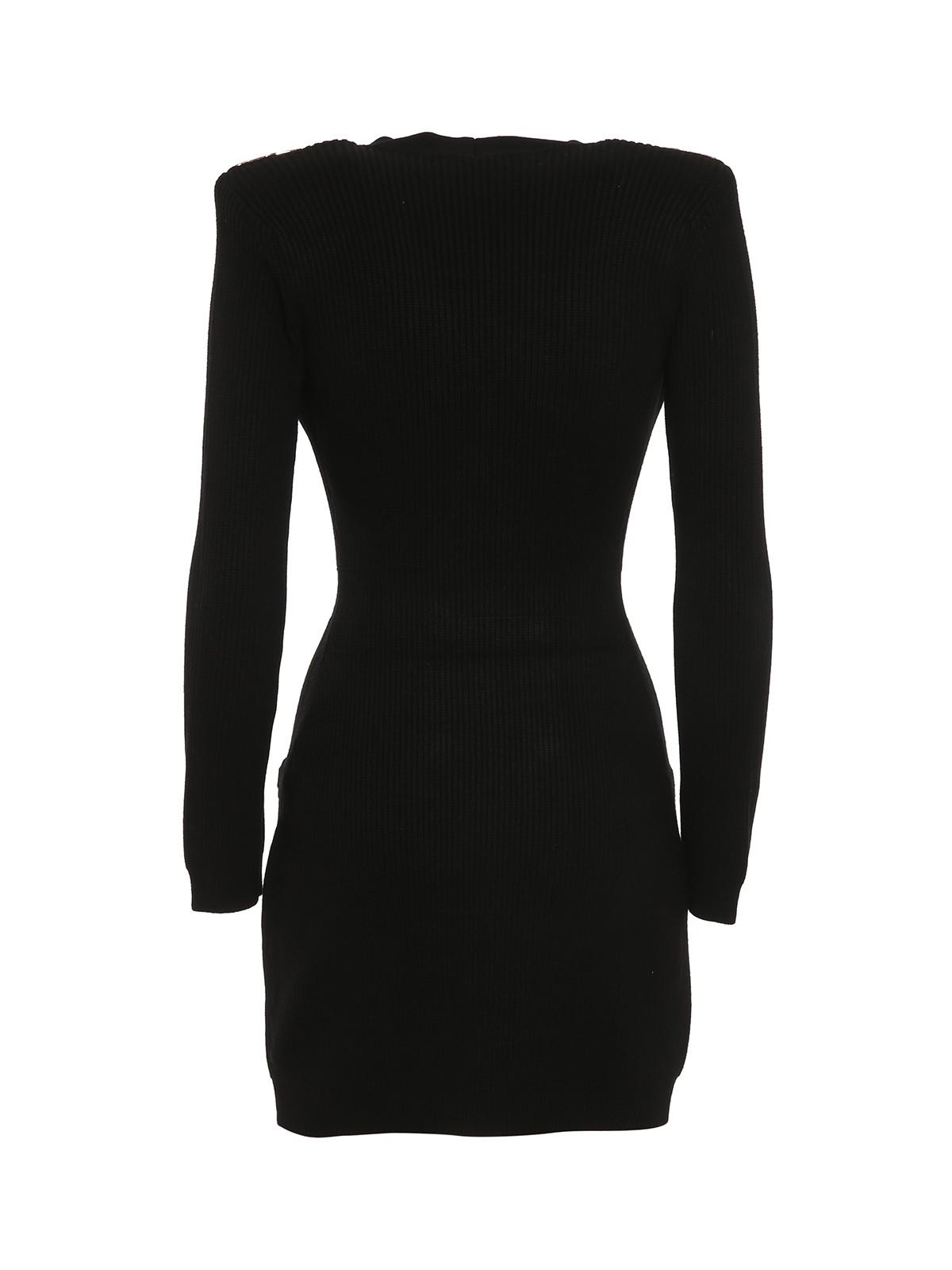 Abito corto donna nero con bottoni in oro Elisabetta Franchi   AM41S16E2110