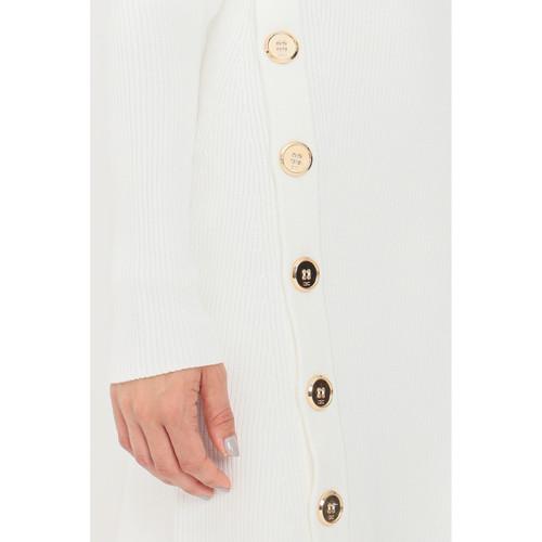 Abito corto donna Avorio on bottoni trasversali in oro Elisabetta Franchi | AM52S16E2360