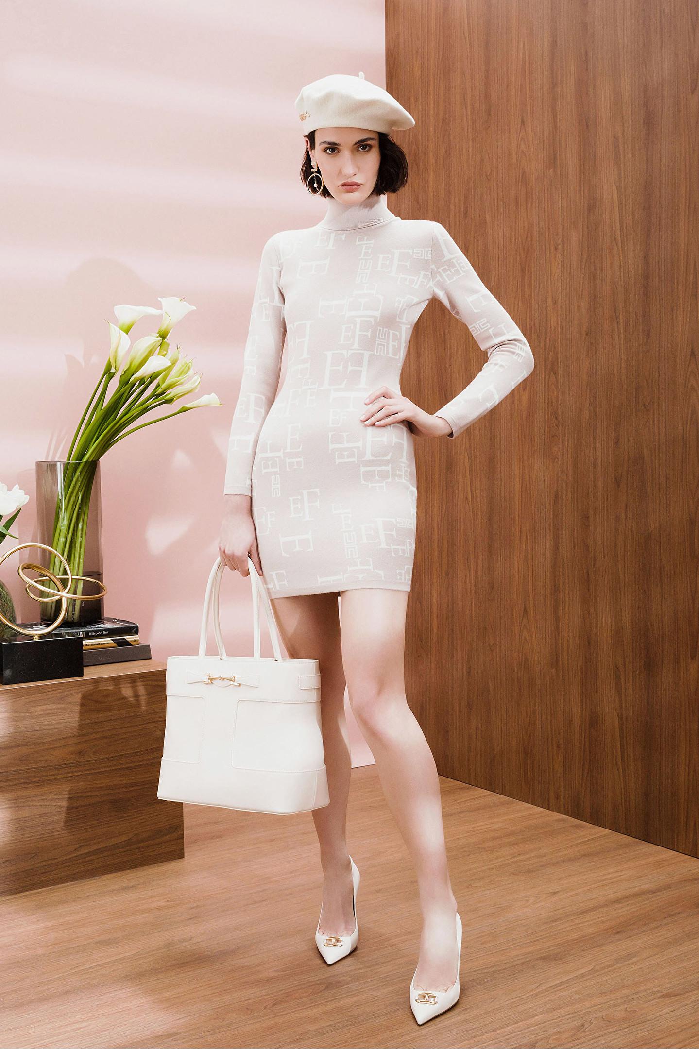 Abito donna corto color calce con collo alto Elisabetta Franchi | AM63Q16E2H28