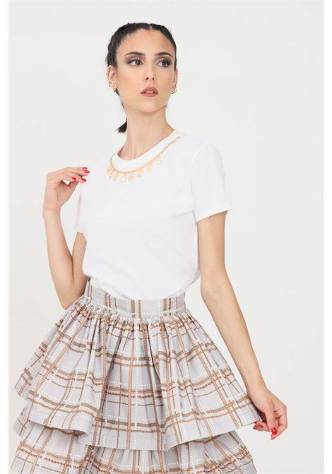 T-shirt donna color gesso Elisabetta Franchi | MA20316E2270