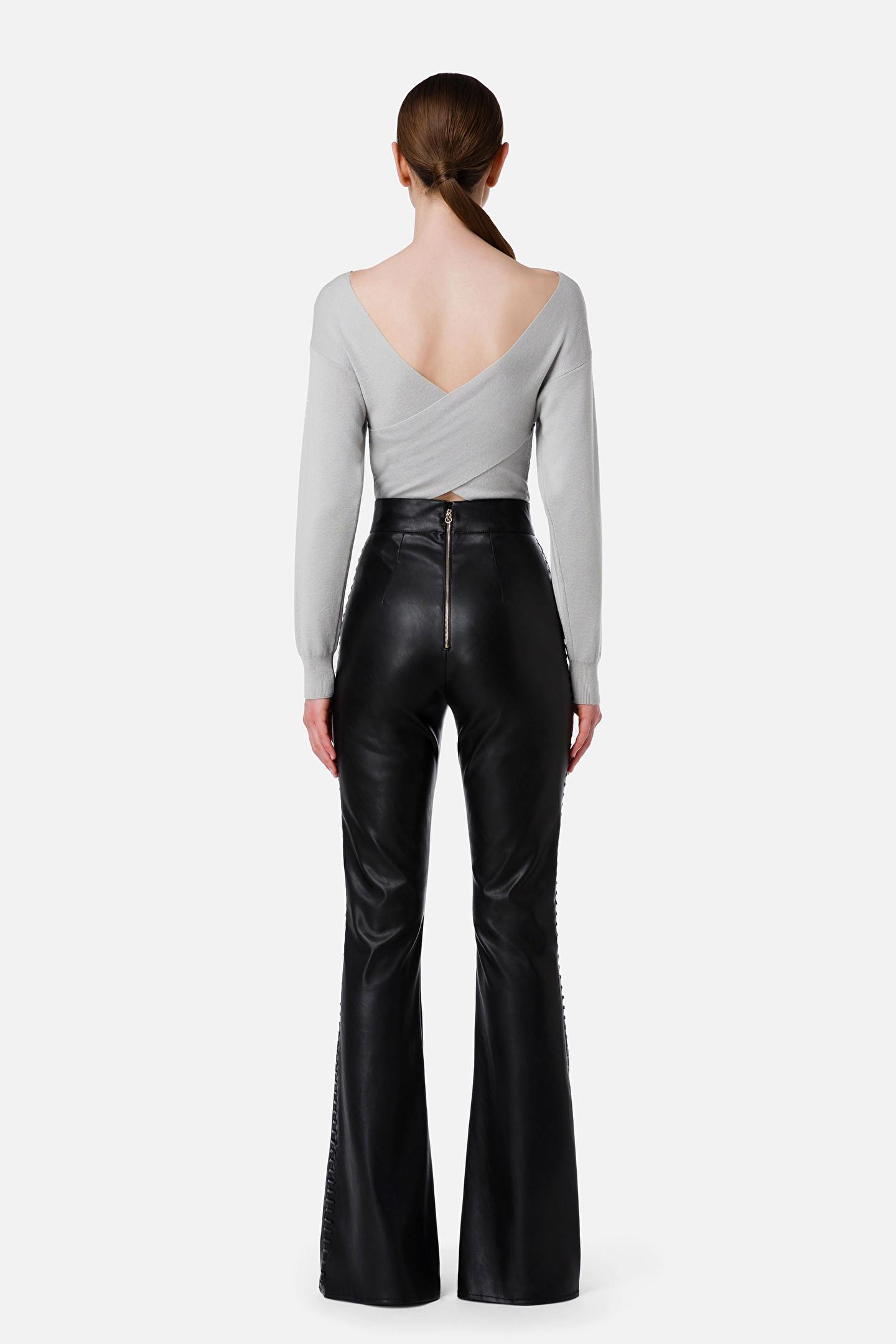 Pantalone donna nero Elisabetta Franchi   PA38016E2110
