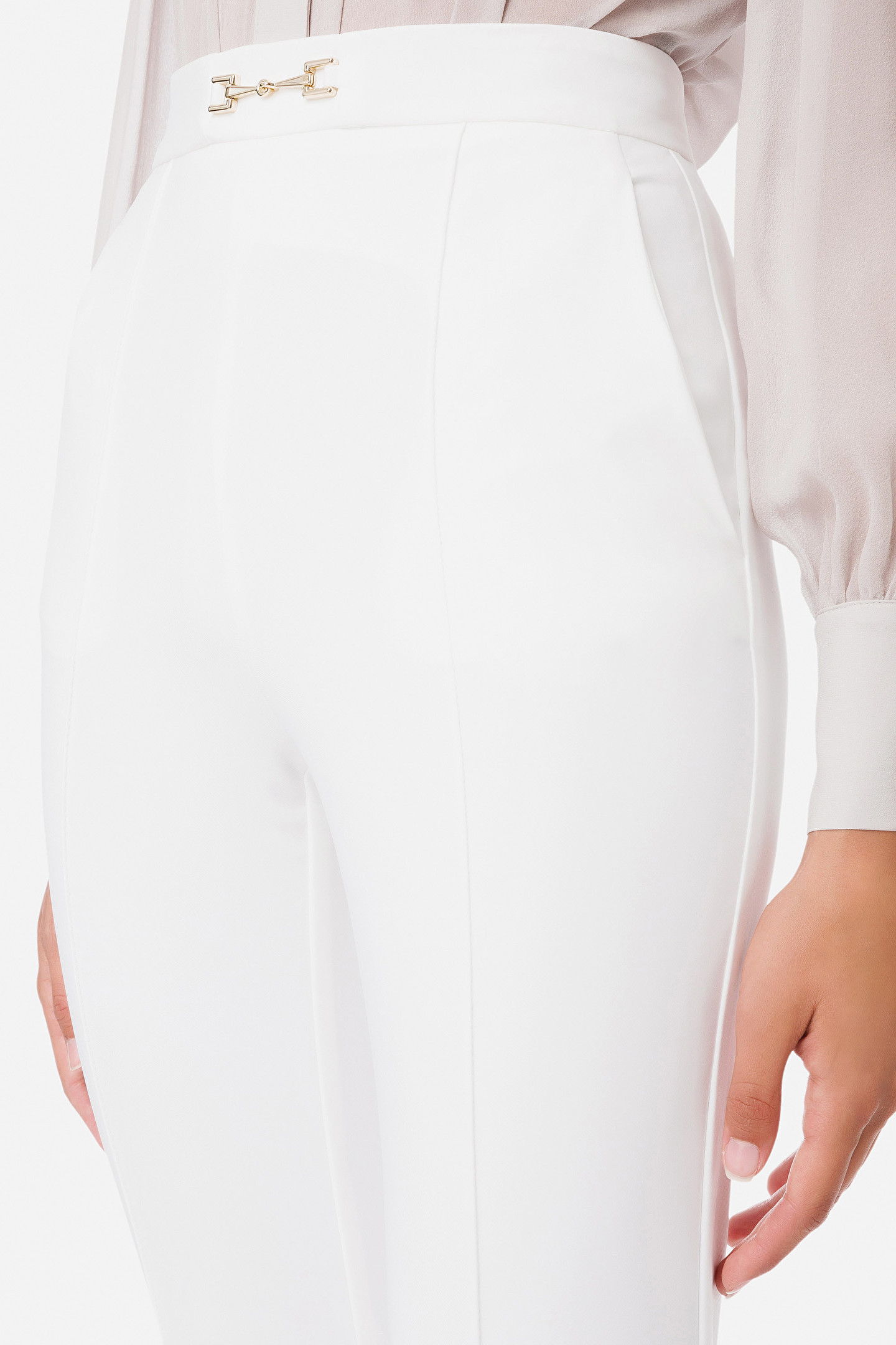 Pantalone skinny essential donna color avorio Elisabetta Franchi | PA38216E2360