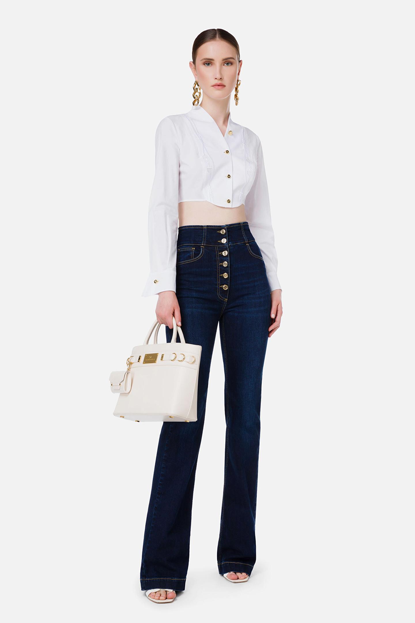 Jeans donna a zampa Elisabetta Franchi | PJ23S16E2139