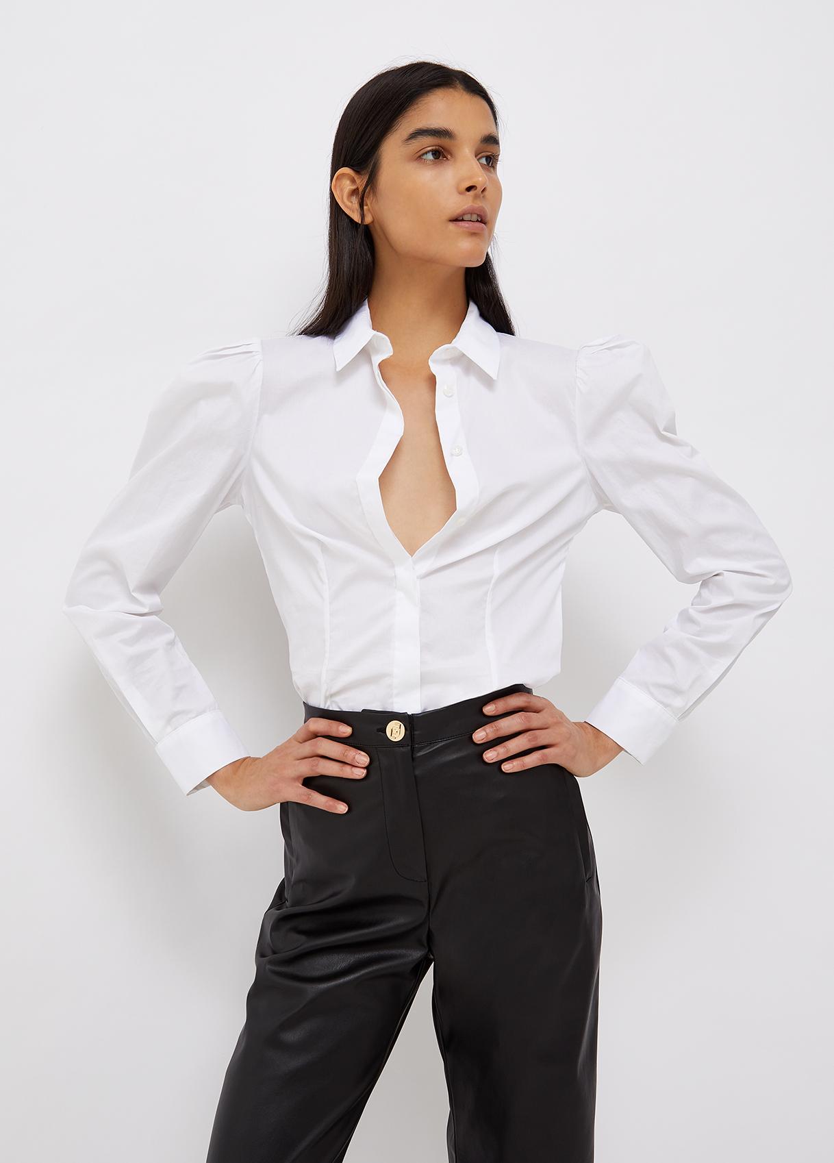 Camicia donna bianca con collana gioiello Liu-Jeans | WF1098T417311111