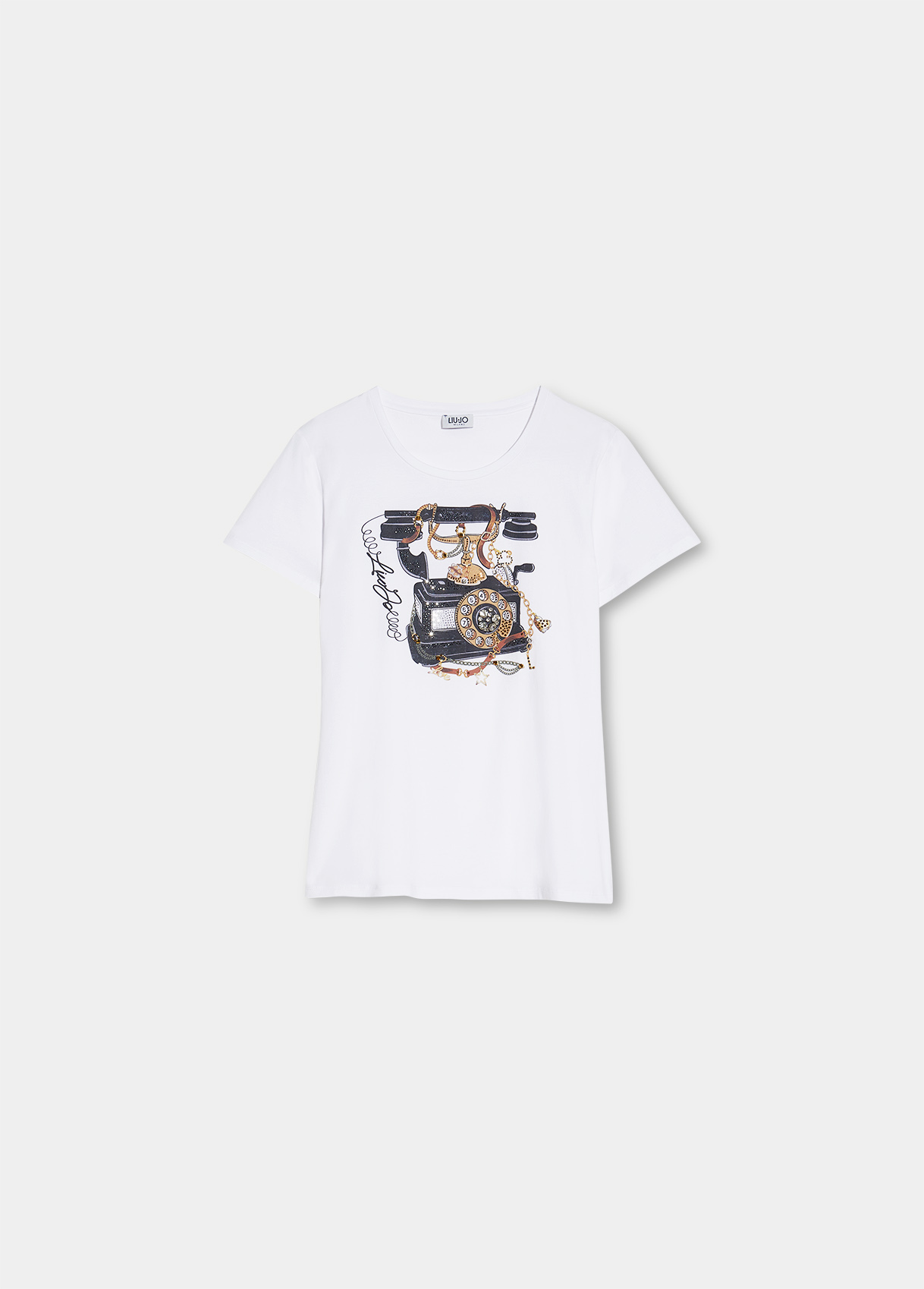 T-shirt donna bianca con stampa Liu-Jeans   WF1198J5003S9234