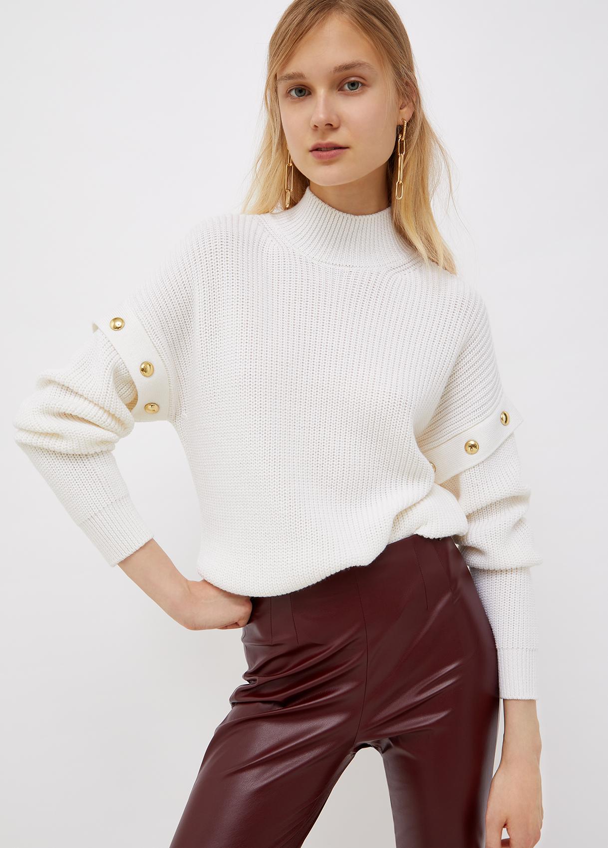 Lupetto donna bianco con borchie oro Liu-Jeans   WF1330MA51I10701