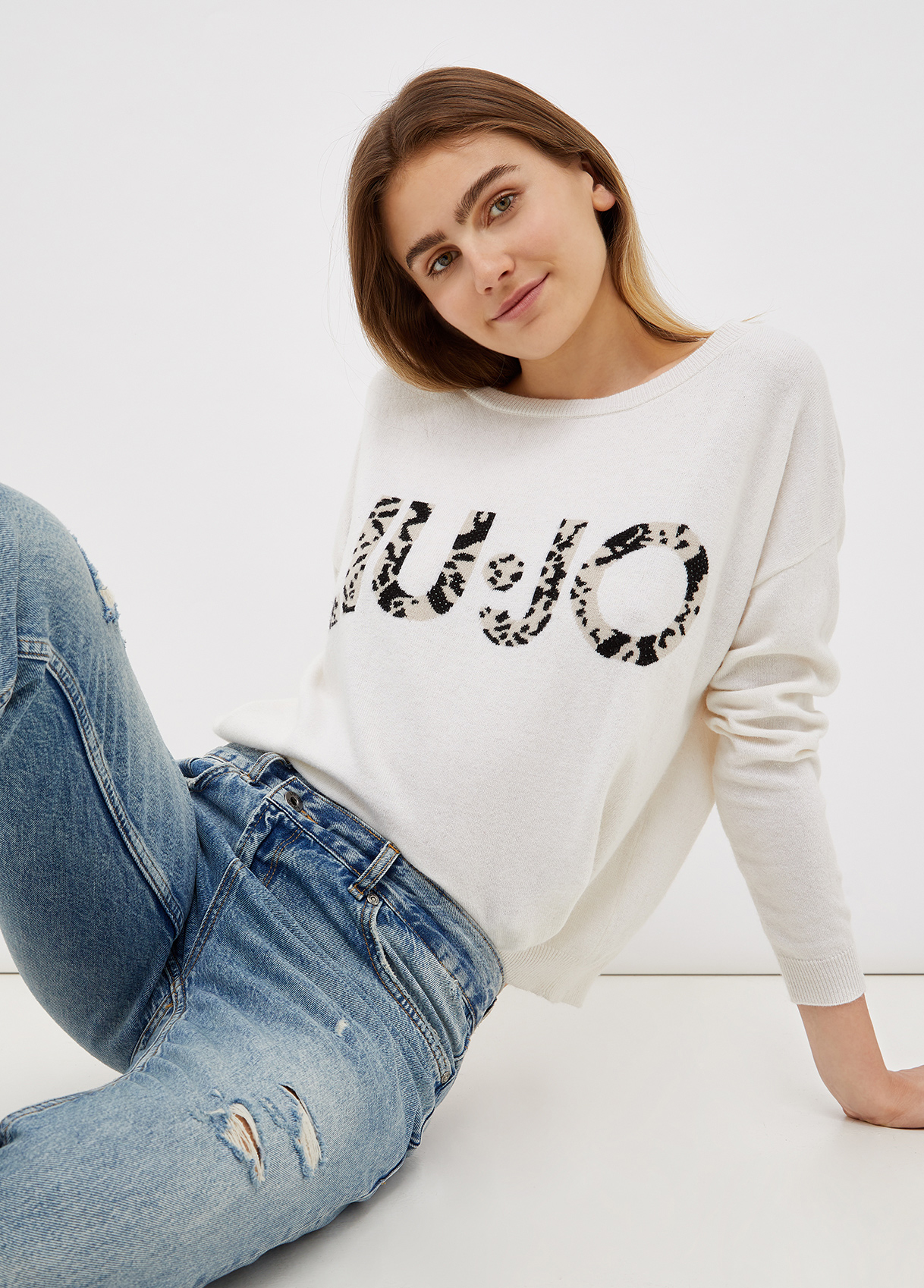 Maglia donna bianca con logo Liu-Jeans | WF1496MA14GS9290