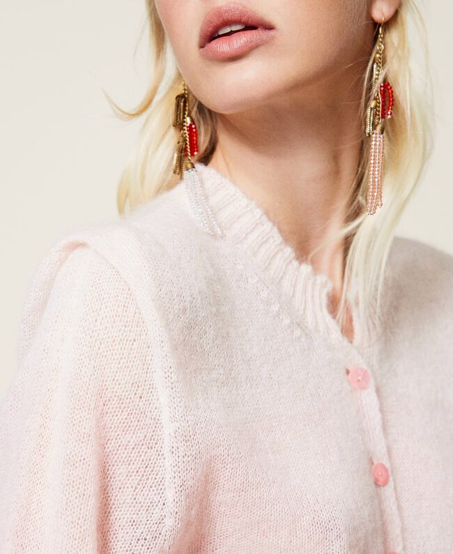 Cardigan donna a righe rosa Twinset | 212TP309206325