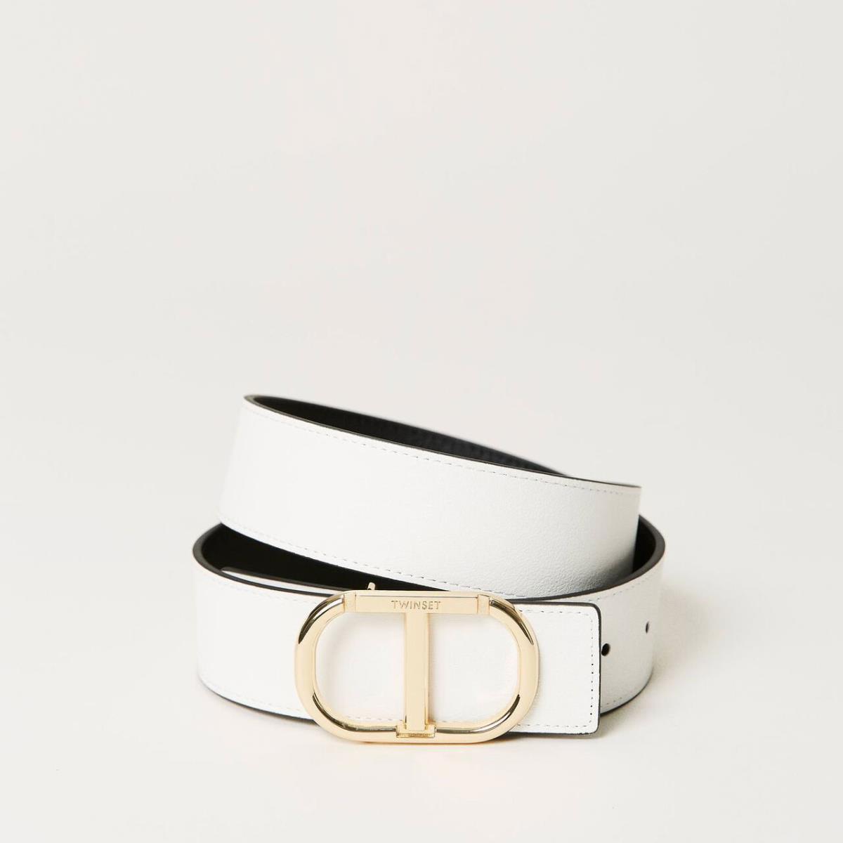 Cintura in pelle con fibbia logo donna Twinset Accessori   211T0506301825