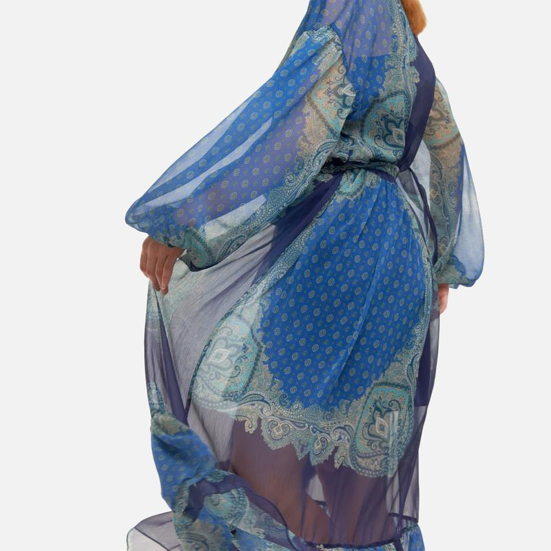 Abito lungo donna blu con fantasie Twinset   211TT221006040