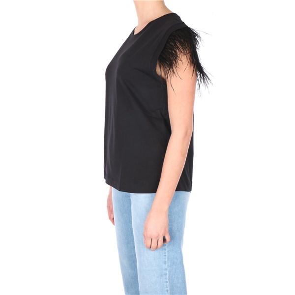 T-shirt donna nera con piume Twinset   211TT242000006