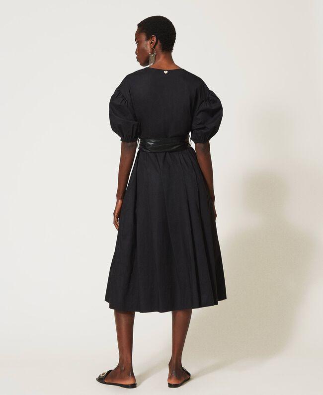 Abito donna nero in popeline con cintura Twinset   211TT249000006