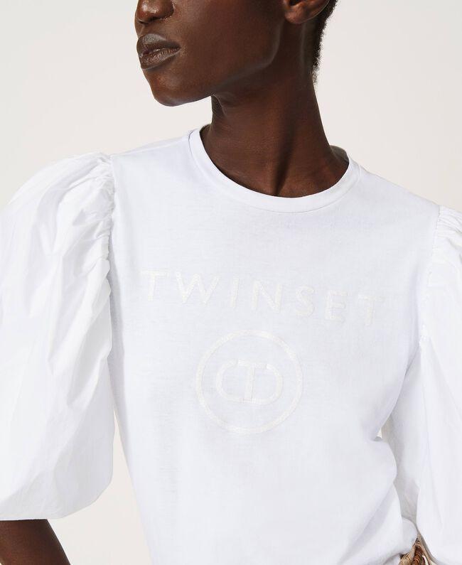 T-shirt donna bianca con stampa logo glitter Twinset   211TT251300001