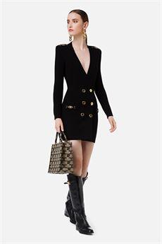 Abito corto donna nero con bottoni in oro Elisabetta Franchi | AM41S16E2110