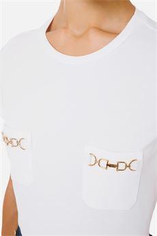 T-shirt donna gesso Elisabetta Franchi | MA20016E2270