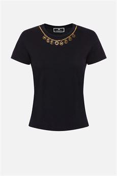 T-shirt Donna nera Elisabetta Franchi | MA20316E2110