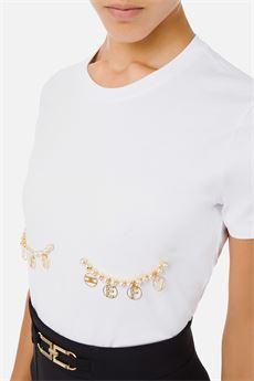 T-shirt donna color bianco gesso Elisabetta Franchi | MA27N16E2270