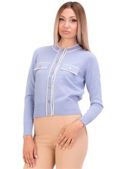Cardigan donna baby blu con decorazioni color burro Elisabetta Franchi | MK31S16E2AB5