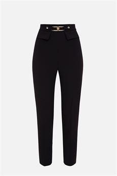 Pantalone donna nero a sigaretta Elisabetta Franchi   PA38616E2110