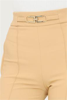 Pantalonne donna cammello con morsetti in oro Elisabetta Franchi | PA38716E2470