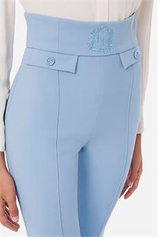 Pantalone a vita alta donna color BabyBlue Elisabetta Franchi | PA38816E2Q80