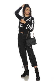 Maglia donna a maniche lunghe nera Gaelle | GBD10310NERO