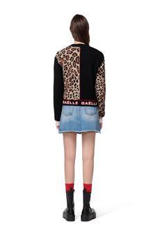 Maglia donna nera e leopardata Gaelle   GBD10321LEOPARDATO