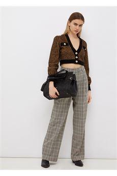 Cardigan donna corto color nero e cammello Liu Jo | CF1192MAG75S9088