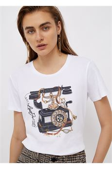 T-shirt donna bianca con stampa Liu-Jeans | WF1198J5003S9234