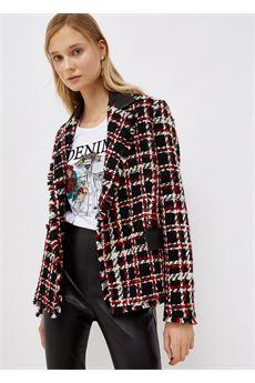 Giacca Donna in bouclé nera e rossa Liu-Jeans | WF1300T3039S9084