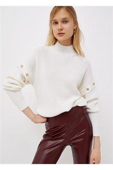 Lupetto donna bianco con borchie oro Liu-Jeans | WF1330MA51I10701