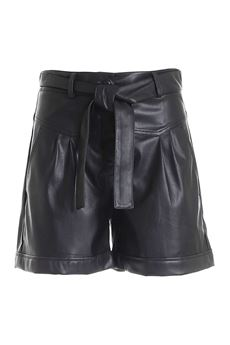 Short donna nero  in tessuto spalmato Liu-Jeans   WF1491E039222222