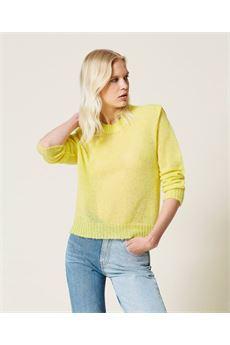 Maglia donna in misto mohair colore giallo ''lemon'' Twinset | 212TP309100832