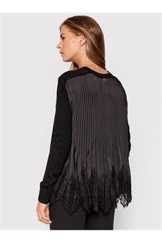 Maxi maglia donna in pizzo nera Twinset | 212TP328000006