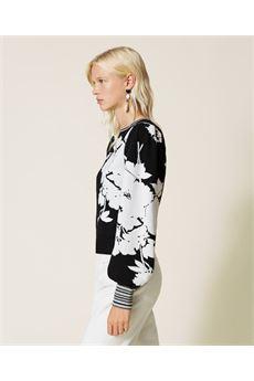 Maglia a fiori donna bianca e nera Twinset | 212TP354106455