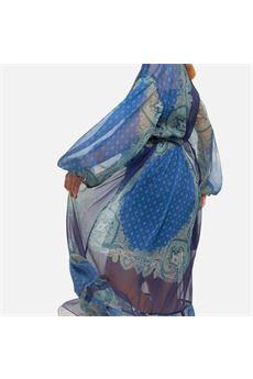 Abito lungo donna blu con fantasie Twinset | 211TT221006040