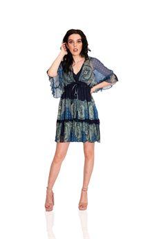 Mini abito blu con fantasie Twinset | 211TT221206040