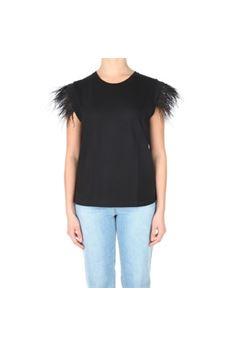 T-shirt donna nera con piume Twinset | 211TT242000006