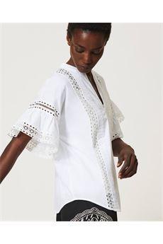 Blusa donna bianca  in popeline con pizzo Twinset | 211TT246400001