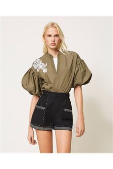 Shorts donna nero in popeline con borchie Twinset | 211TT248400006
