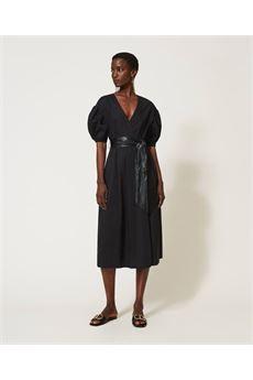 Abito donna nero in popeline con cintura Twinset | 211TT249000006