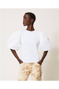 T-shirt donna bianca con stampa logo glitter Twinset | 211TT251300001