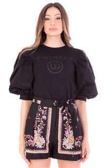 T-shirt donna nera con stampa logo glitter Twinset | 211TT251300006