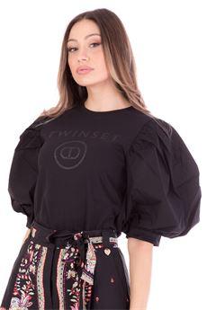 T-shirt donna nera con stampa logo glitter Twinset   211TT251300006